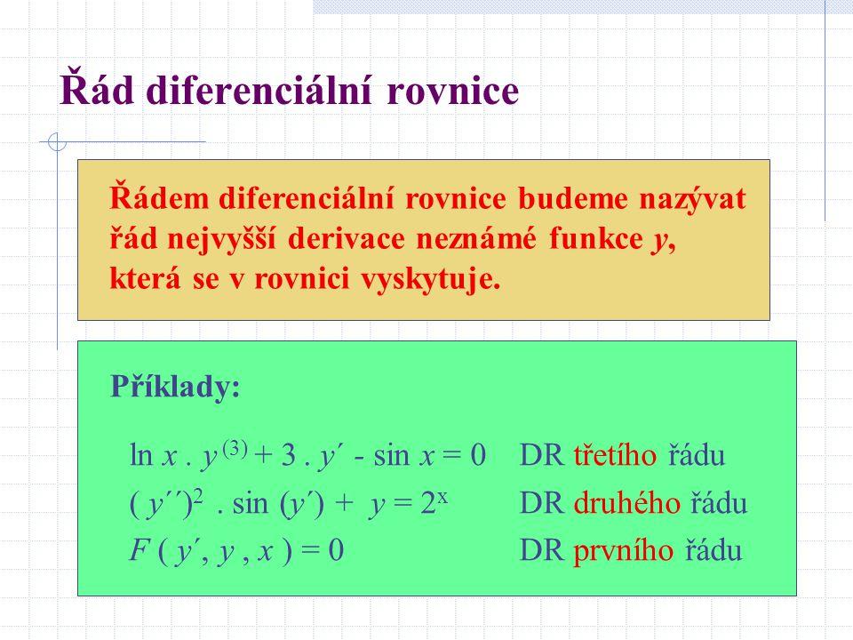Řád diferenciální rovnice