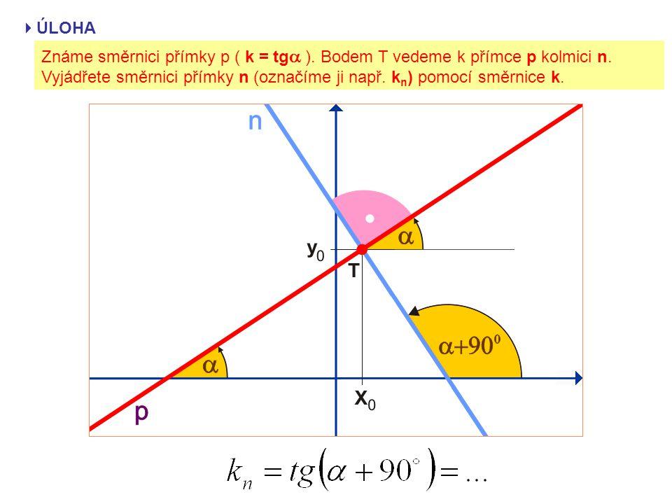 ÚLOHA Známe směrnici přímky p ( k = tga ). Bodem T vedeme k přímce p kolmici n.