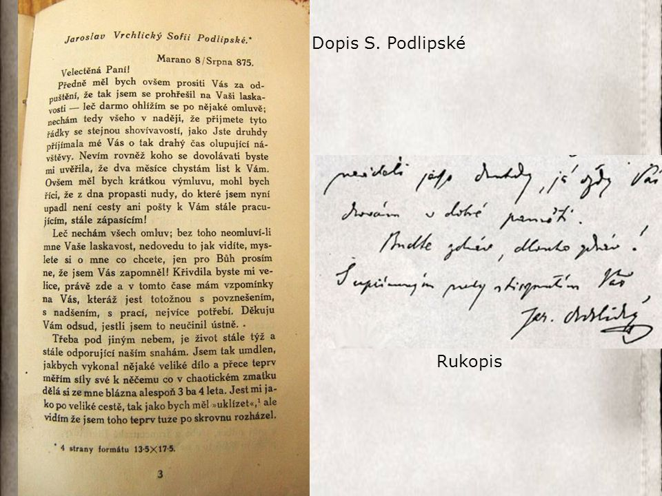 Dopis S. Podlipské Rukopis