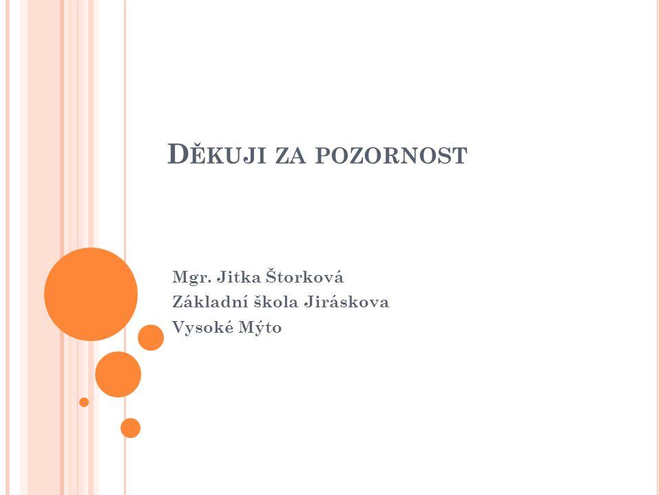 Mgr. Jitka Štorková Základní škola Jiráskova Vysoké Mýto