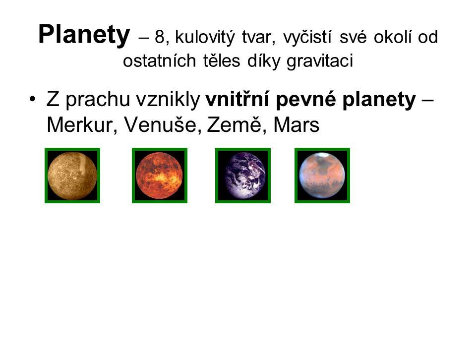 Planety – 8, kulovitý tvar, vyčistí své okolí od ostatních těles díky gravitaci