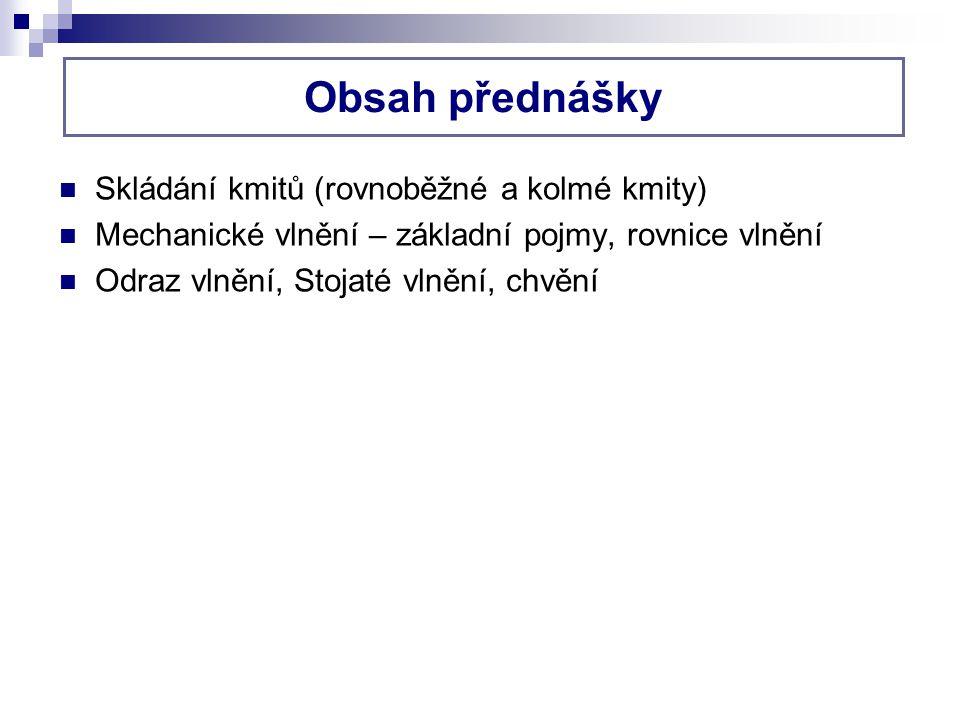 Obsah přednášky Skládání kmitů (rovnoběžné a kolmé kmity)