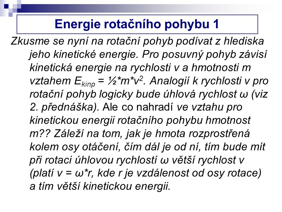 Energie rotačního pohybu 1