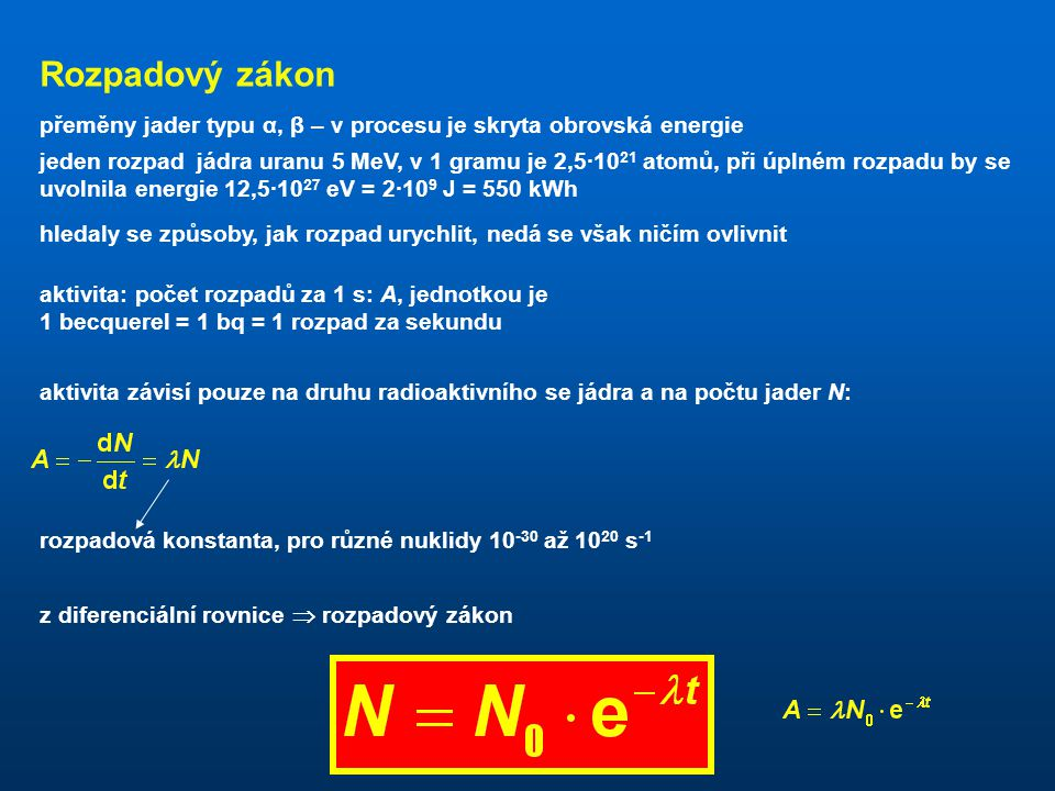 Rozpadový zákon přeměny jader typu α, β – v procesu je skryta obrovská energie.