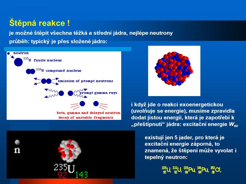 Štěpná reakce ! je možné štěpit všechna těžká a střední jádra, nejlépe neutrony. průběh: typický je přes složené jádro: