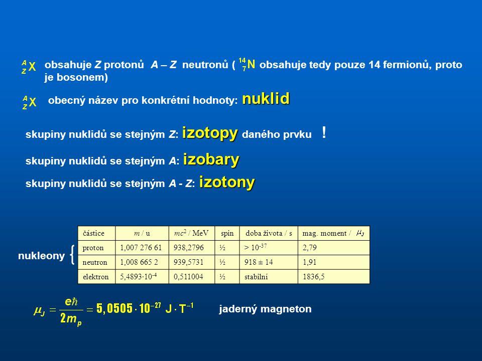 obecný název pro konkrétní hodnoty: nuklid