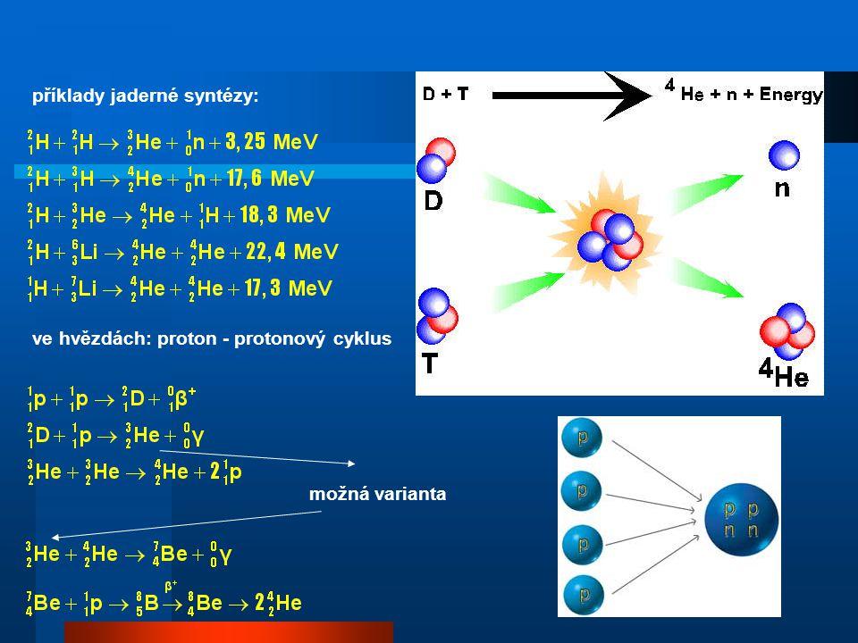 příklady jaderné syntézy: