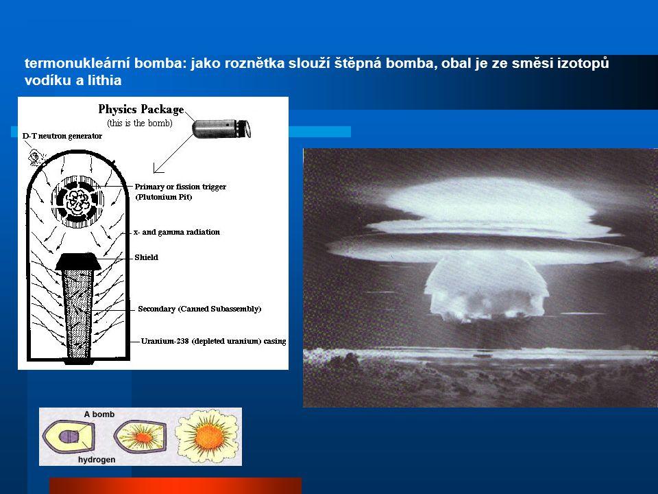 termonukleární bomba: jako roznětka slouží štěpná bomba, obal je ze směsi izotopů vodíku a lithia