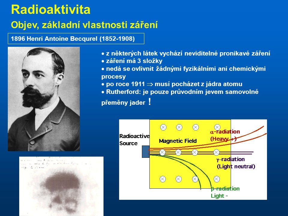Radioaktivita Objev, základní vlastnosti záření