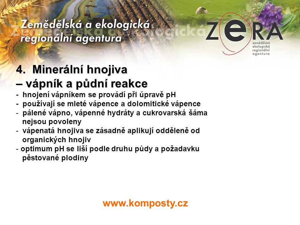 4. Minerální hnojiva – vápník a půdní reakce www.komposty.cz