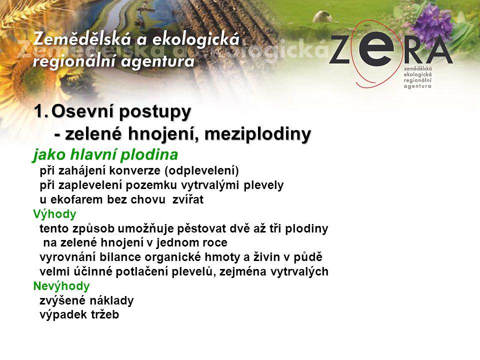 - zelené hnojení, meziplodiny
