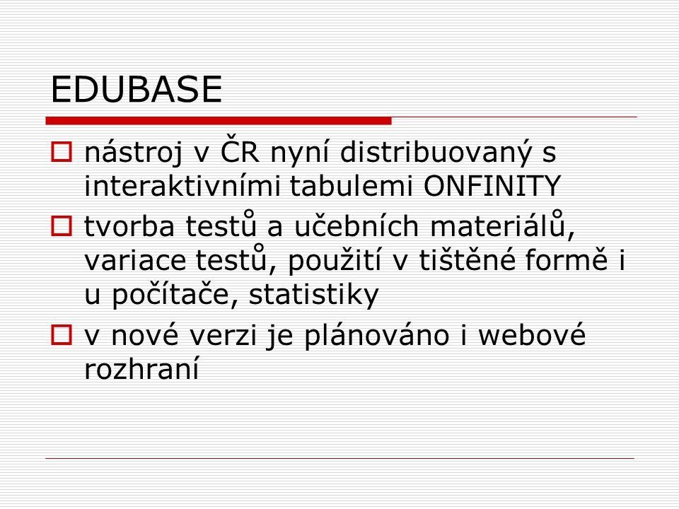 EDUBASE nástroj v ČR nyní distribuovaný s interaktivními tabulemi ONFINITY.