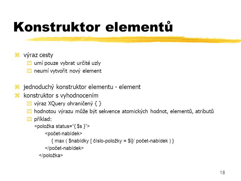 Konstruktor elementů výraz cesty