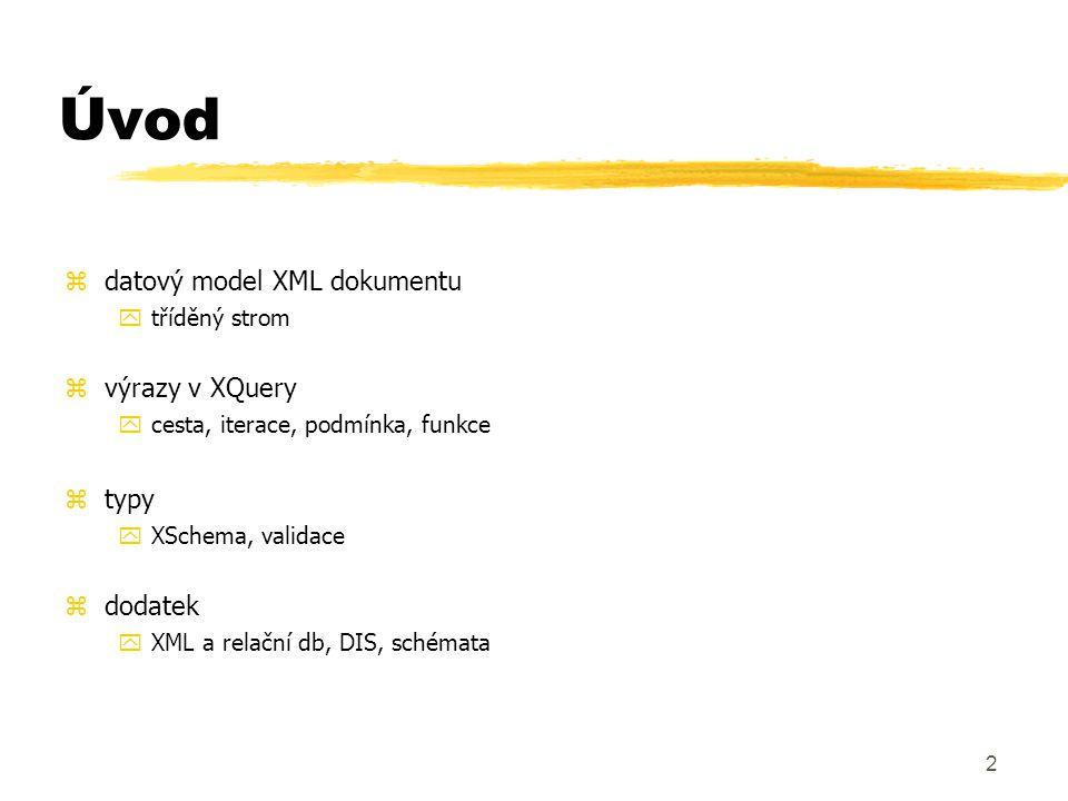 Úvod datový model XML dokumentu výrazy v XQuery typy dodatek