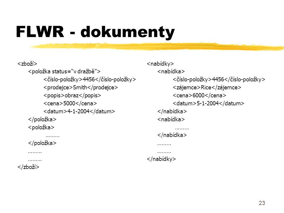 FLWR - dokumenty <zboží> <položka status= v dražbě >