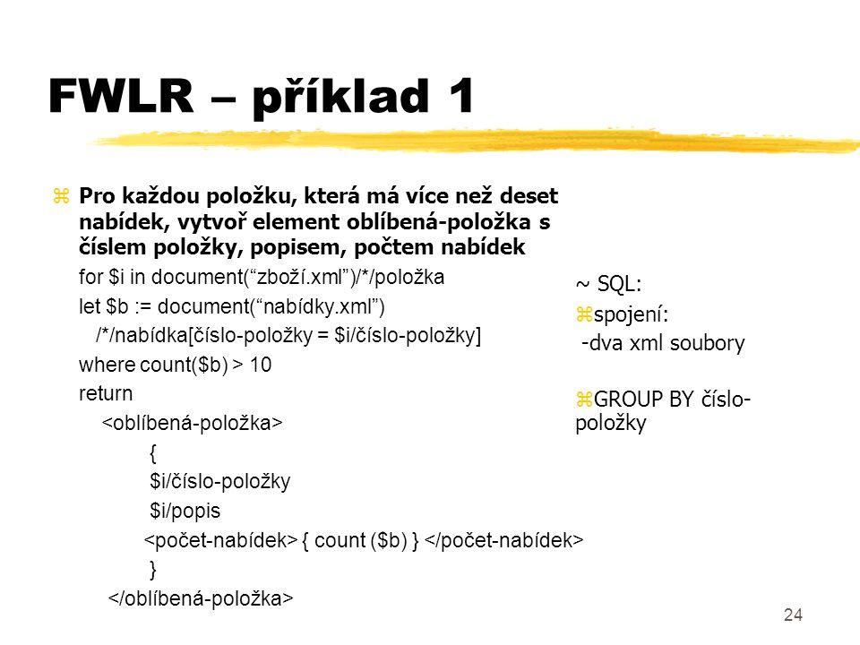 FWLR – příklad 1 Pro každou položku, která má více než deset nabídek, vytvoř element oblíbená-položka s číslem položky, popisem, počtem nabídek.