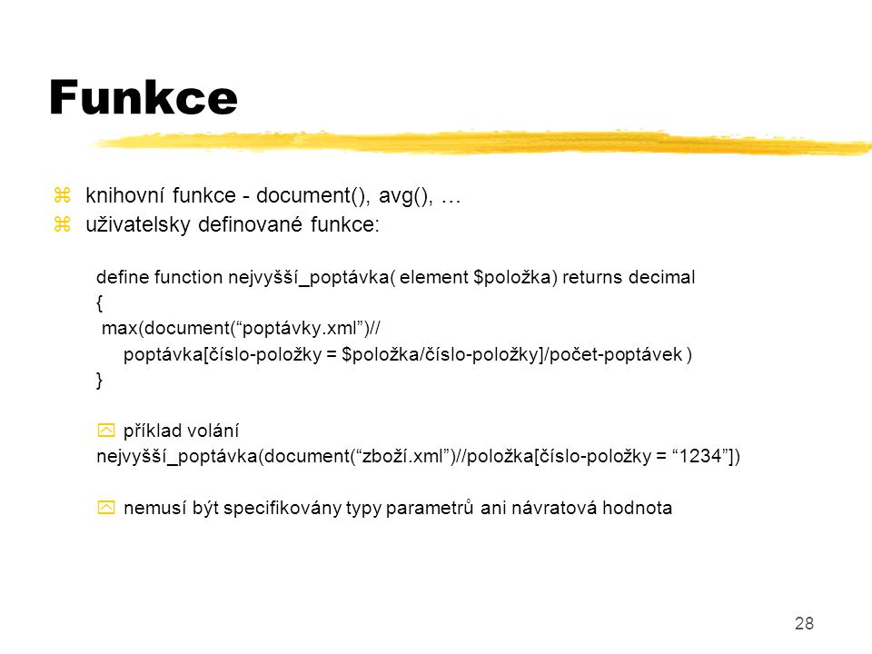 Funkce knihovní funkce - document(), avg(), …