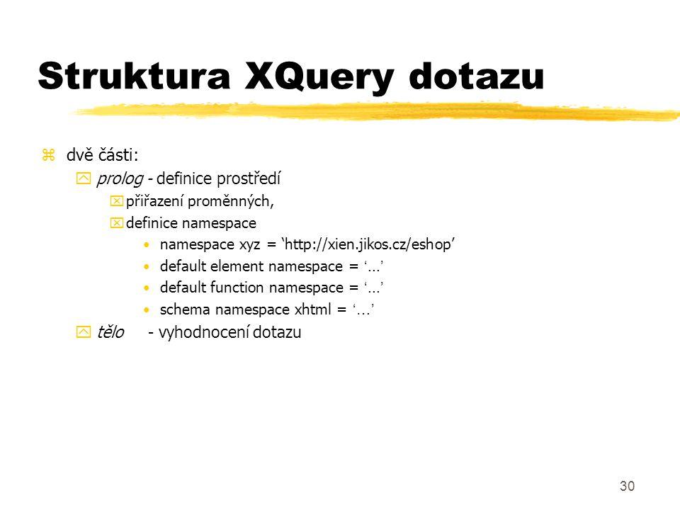 Struktura XQuery dotazu