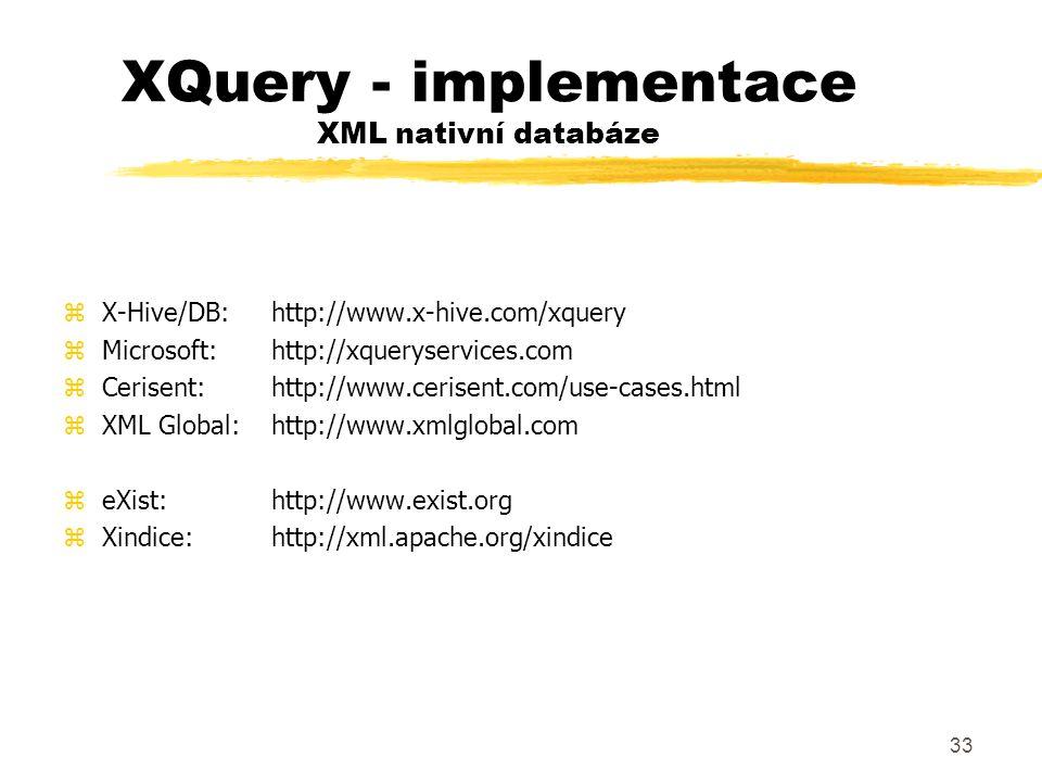 XQuery - implementace XML nativní databáze