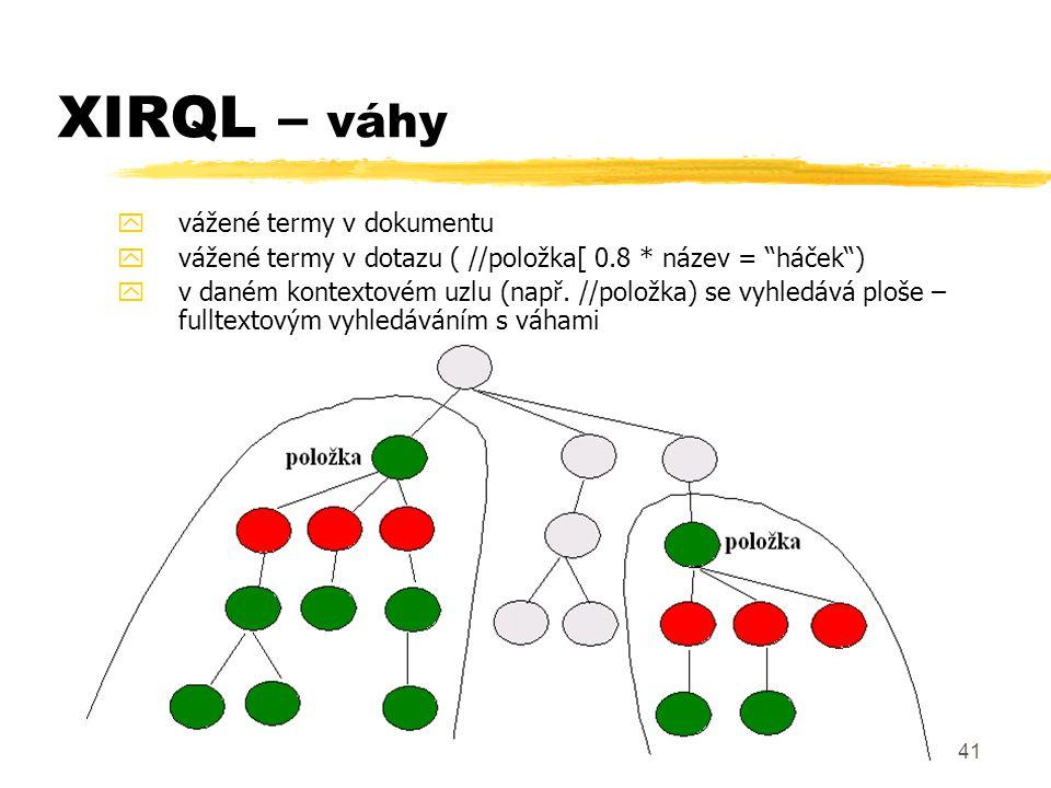 XIRQL – váhy vážené termy v dokumentu