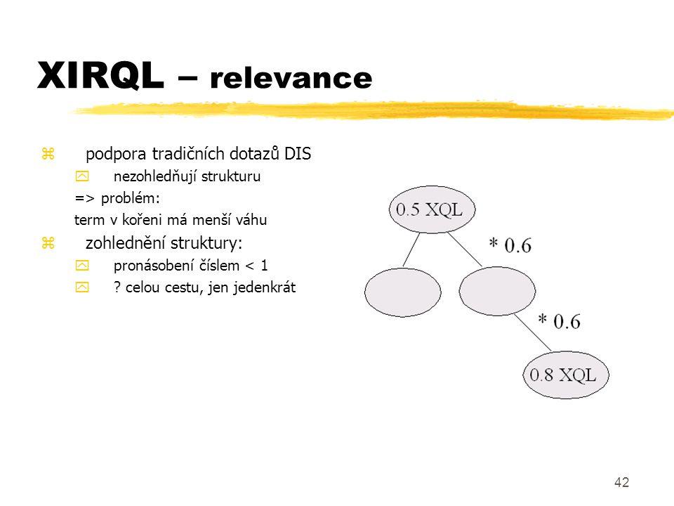 XIRQL – relevance podpora tradičních dotazů DIS zohlednění struktury: