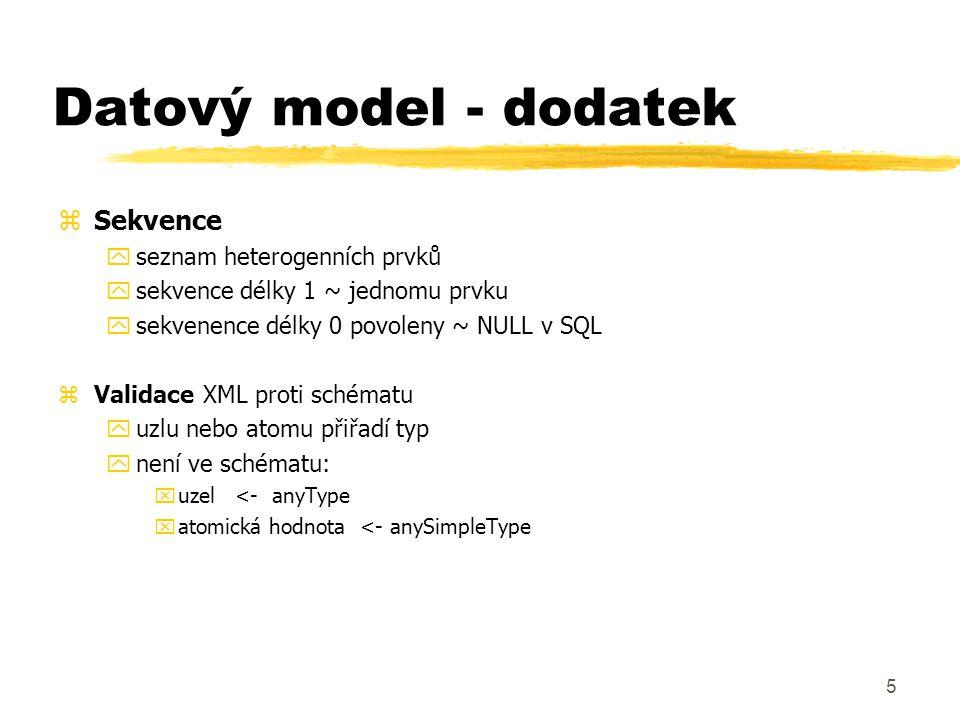 Datový model - dodatek Sekvence seznam heterogenních prvků