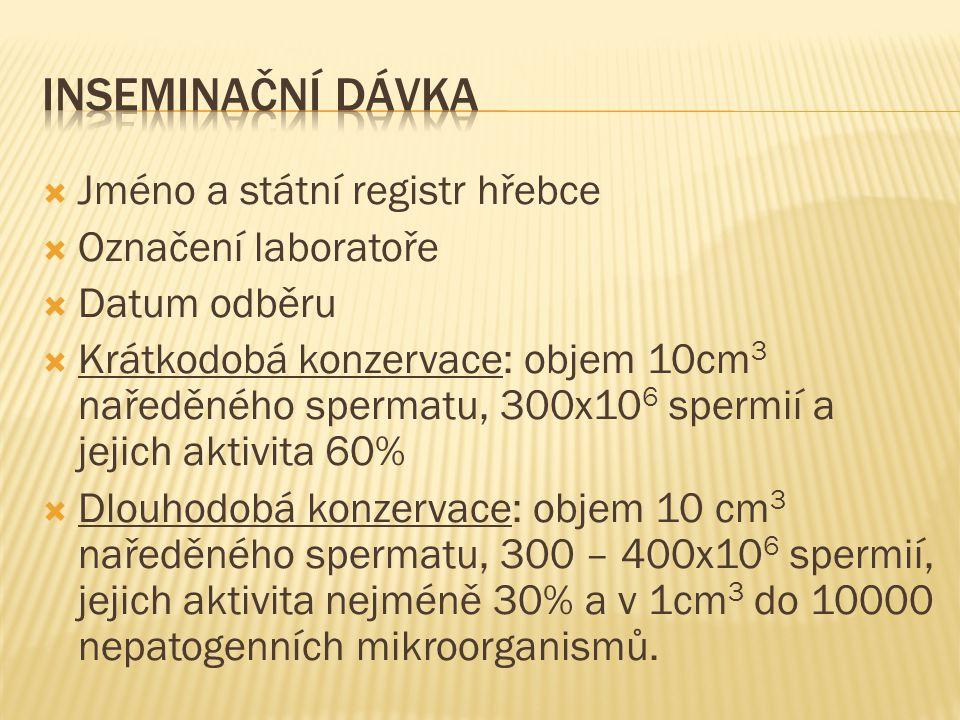 INSEMinační dávka Jméno a státní registr hřebce Označení laboratoře