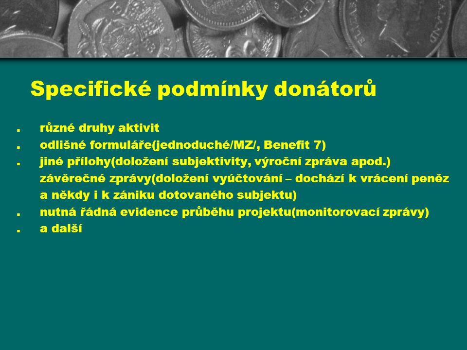 Specifické podmínky donátorů