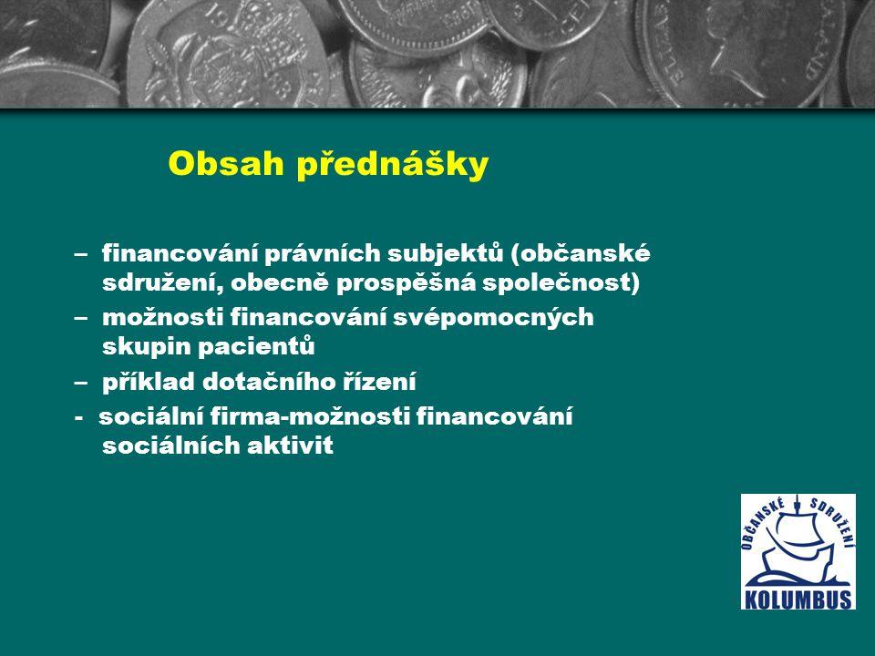 Obsah přednášky financování právních subjektů (občanské sdružení, obecně prospěšná společnost) možnosti financování svépomocných skupin pacientů.
