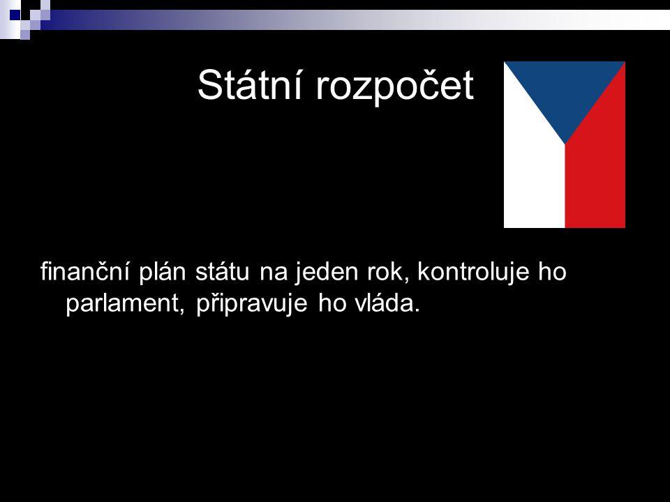 Státní rozpočet finanční plán státu na jeden rok, kontroluje ho parlament, připravuje ho vláda.