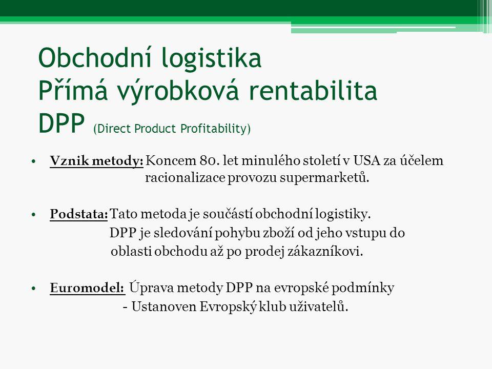 Obchodní logistika Přímá výrobková rentabilita DPP (Direct Product Profitability)