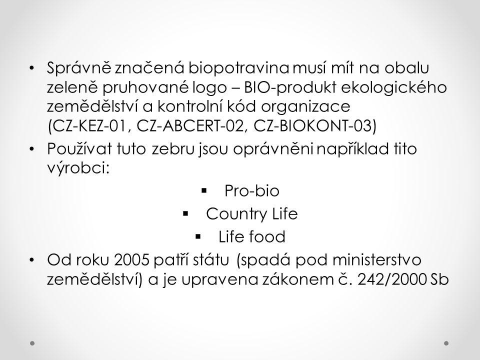 Správně značená biopotravina musí mít na obalu zeleně pruhované logo – BIO-produkt ekologického zemědělství a kontrolní kód organizace (CZ-KEZ-01, CZ-ABCERT-02, CZ-BIOKONT-03)