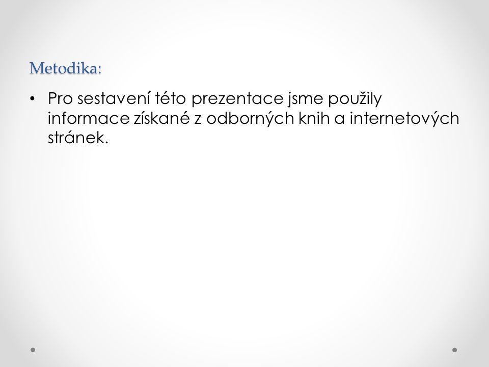 Metodika: Pro sestavení této prezentace jsme použily informace získané z odborných knih a internetových stránek.
