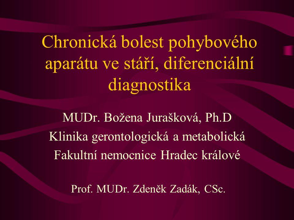 Chronická bolest pohybového aparátu ve stáří, diferenciální diagnostika