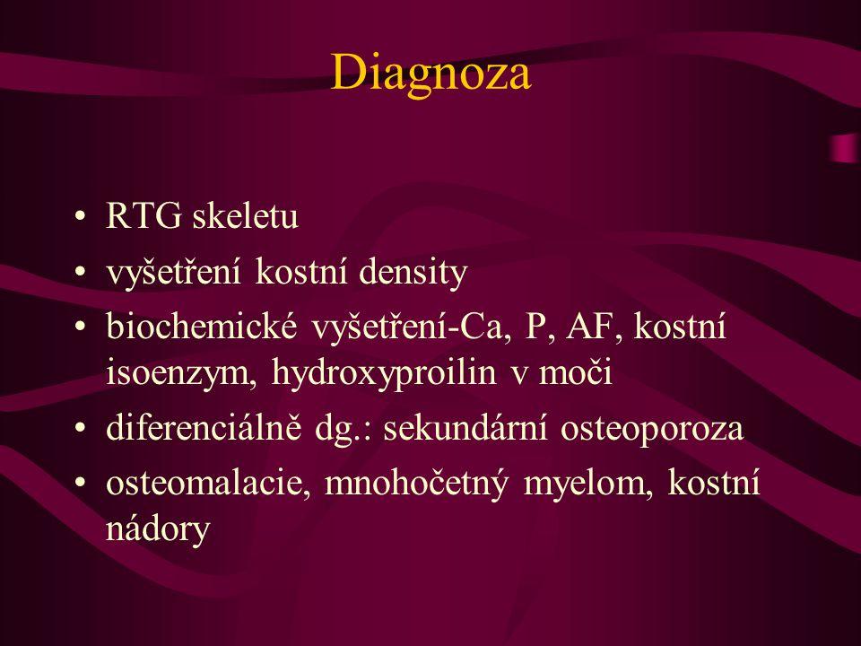 Diagnoza RTG skeletu vyšetření kostní density