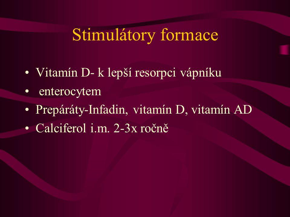 Stimulátory formace Vitamín D- k lepší resorpci vápníku enterocytem