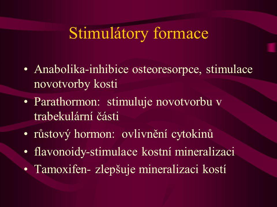 Stimulátory formace Anabolika-inhibice osteoresorpce, stimulace novotvorby kosti. Parathormon: stimuluje novotvorbu v trabekulární části.