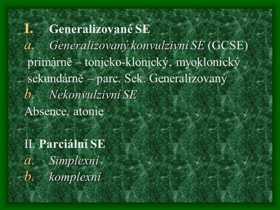 Generalizované SE Generalizovaný konvulzivní SE (GCSE) primárně – tonicko-klonický, myoklonický. sekundárně – parc. Sek. Generalizovaný.
