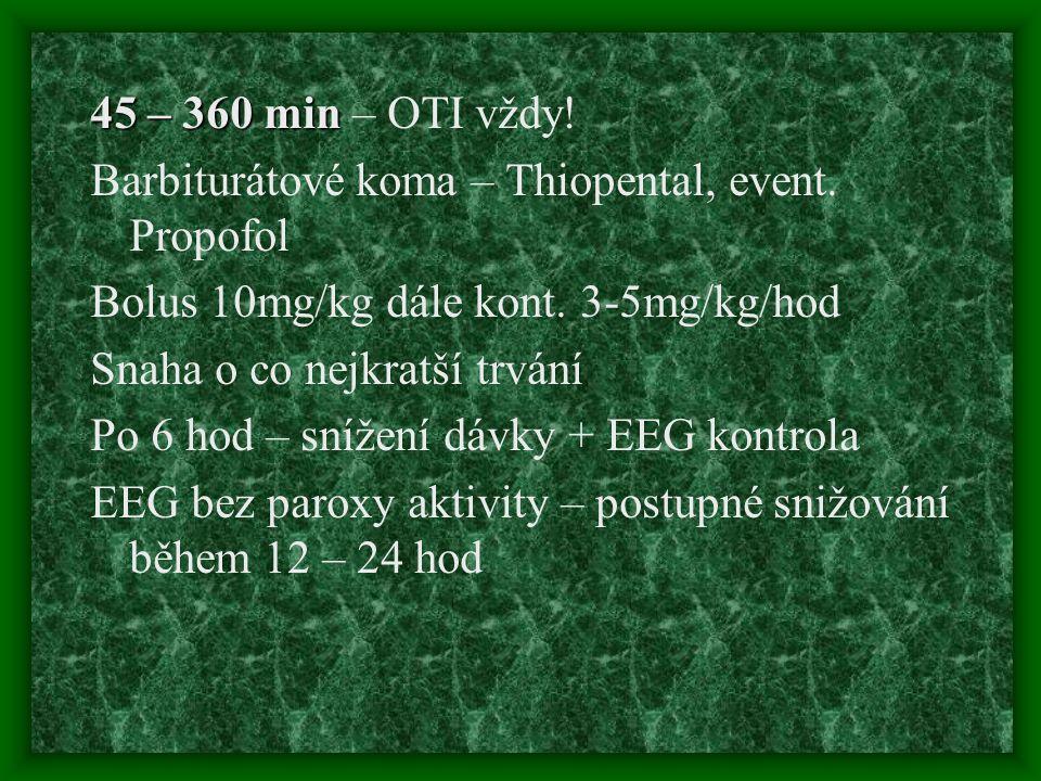 45 – 360 min – OTI vždy! Barbiturátové koma – Thiopental, event. Propofol. Bolus 10mg/kg dále kont. 3-5mg/kg/hod.