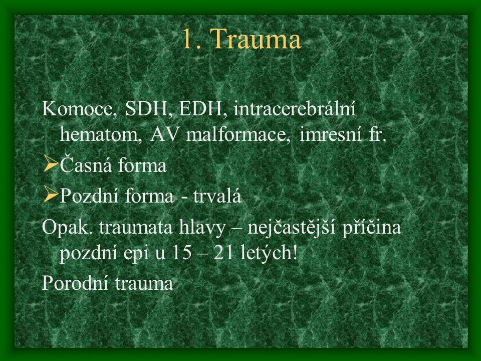1. Trauma Komoce, SDH, EDH, intracerebrální hematom, AV malformace, imresní fr. Časná forma. Pozdní forma - trvalá.