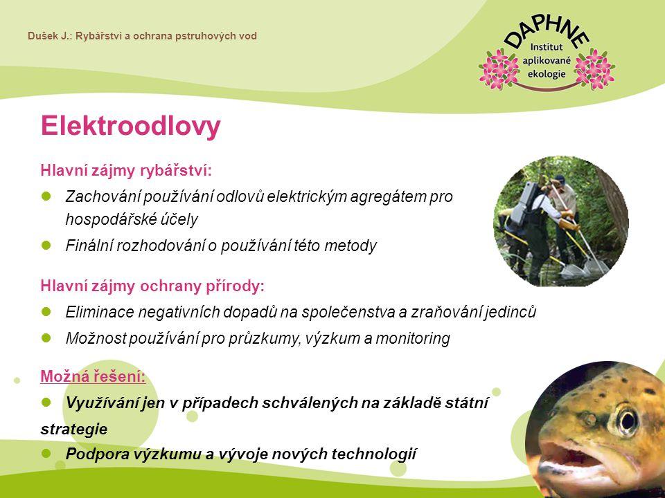 Elektroodlovy Hlavní zájmy rybářství: