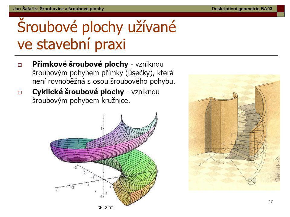Šroubové plochy užívané ve stavební praxi