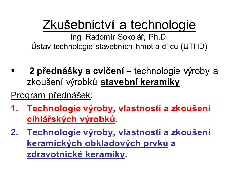 Zkušebnictví a technologie Ing. Radomír Sokolář, Ph. D