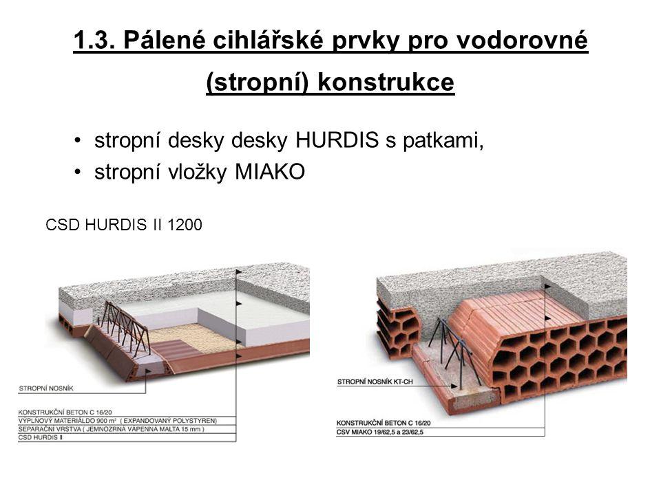 1.3. Pálené cihlářské prvky pro vodorovné (stropní) konstrukce