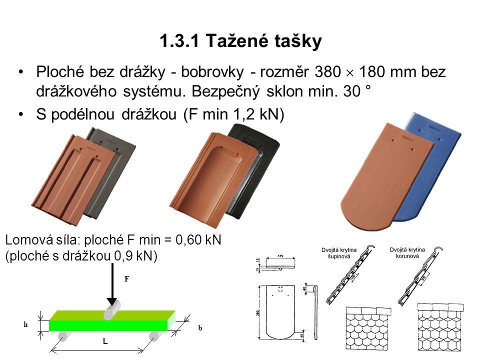 1.3.1 Tažené tašky Ploché bez drážky - bobrovky - rozměr 380  180 mm bez drážkového systému. Bezpečný sklon min. 30 °