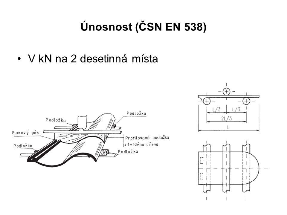 Únosnost (ČSN EN 538) V kN na 2 desetinná místa