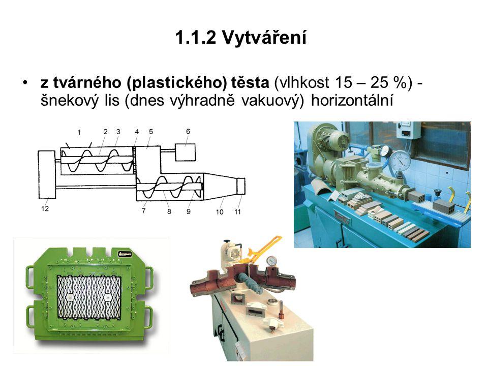 1.1.2 Vytváření z tvárného (plastického) těsta (vlhkost 15 – 25 %) - šnekový lis (dnes výhradně vakuový) horizontální.