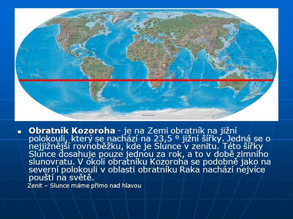 Obratník Kozoroha - je na Zemi obratník na jižní polokouli, který se nachází na 23,5 ° jižní šířky. Jedná se o nejjižnější rovnoběžku, kde je Slunce v zenitu. Této šířky Slunce dosahuje pouze jednou za rok, a to v době zimního slunovratu. V okolí obratníku Kozoroha se podobně jako na severní polokouli v oblasti obratníku Raka nachází nejvíce pouští na světě.