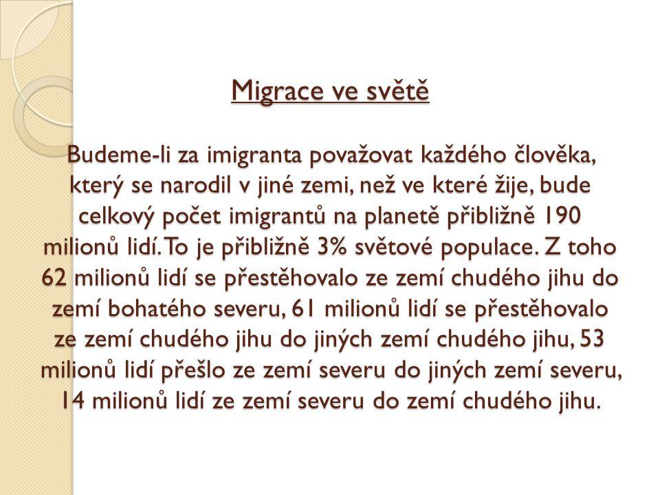 Migrace ve světě Budeme-li za imigranta považovat každého člověka, který se narodil v jiné zemi, než ve které žije, bude celkový počet imigrantů na planetě přibližně 190 milionů lidí.