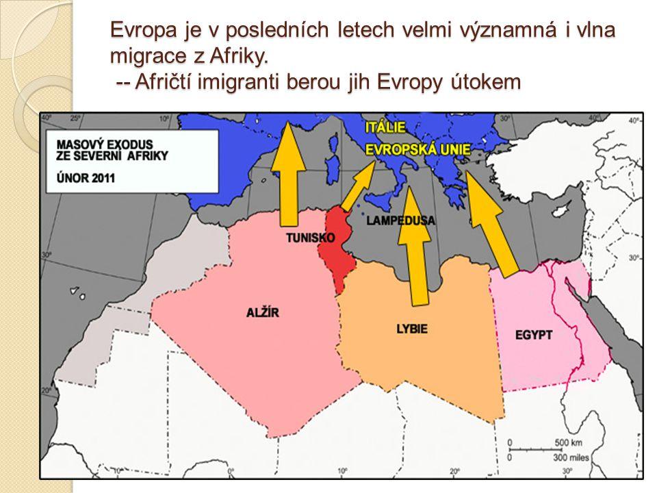 Evropa je v posledních letech velmi významná i vlna migrace z Afriky